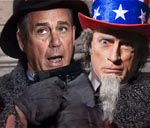Boehner with Uncle Sam as Hostage