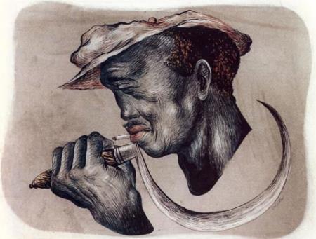Man With Sickle - Eldzier Cortor