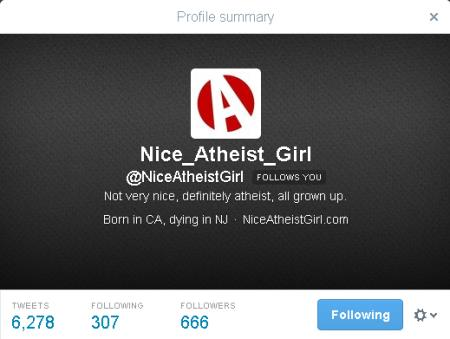 Nice Atheist Girl - Twitter 666