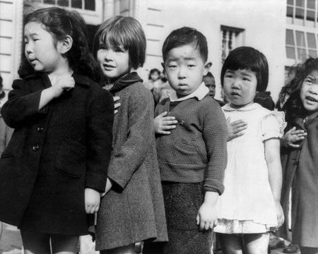 Japanese Americans Children Pledging Allegiance 1942 - Lange