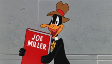 Daffy Duck and Joe Miller Joke Book