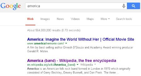 Google Search: America on 29 July 2014