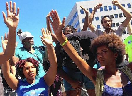 Michael Brown Protesters - Hands in the Air - Don't Shoot