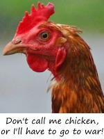 Don't call me chicken, or I'll have to go to war!