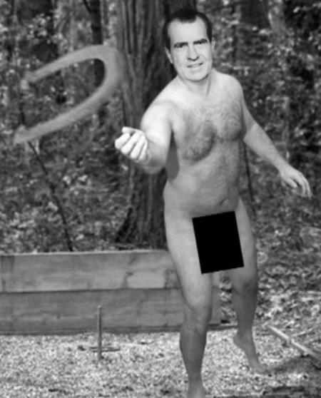 Naked Nixon Playing Horseshoes