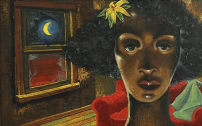 Woman in an Interior - Eldzier Cortor