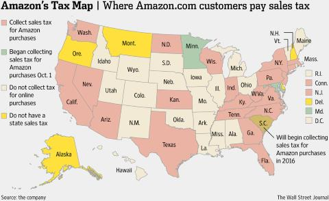 Where Amazon Collects Sales Taxes