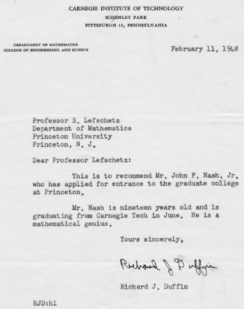 Richard Duffin Recommendation Letter for John Nash
