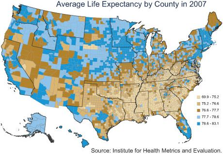 Average Life Expectancy by County - 2007