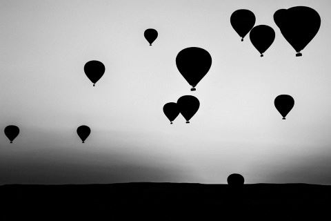 B&W Balloons at Dawn