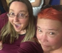 Elizabeth and Sister Selfie at Clinton Rally