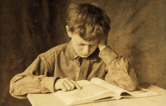 Work: Boy Studying - Lewis Hine