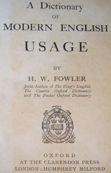 Frontispiece of Fowler's Modern English Usage