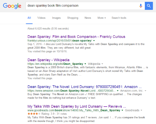 Google Search: dean spanley book film comparison - Example Two