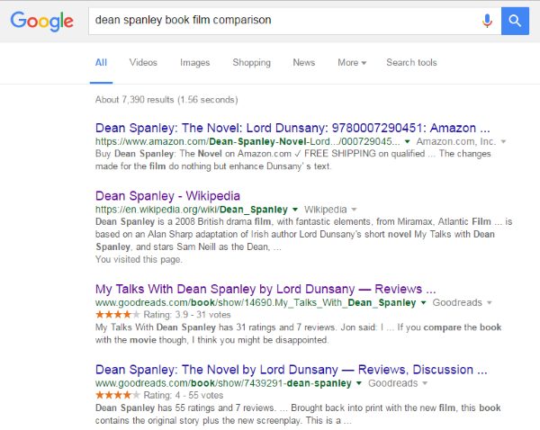 Google Search: dean spanley book film comparison - Example One