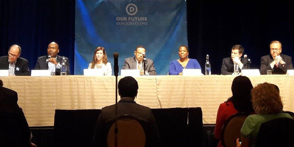 DNC Chair Panel, left to right: Tom Perez, Jaime Harrison, Sally Boynton Brown, Keith Ellison, Jehmu Greene, Pete Buttigieg, and Ray Buckley