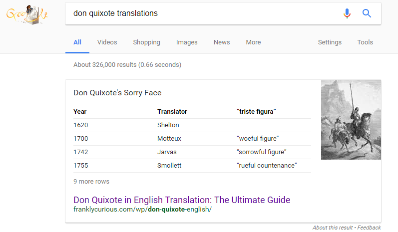 Don Quixote Translations Featured Snippet