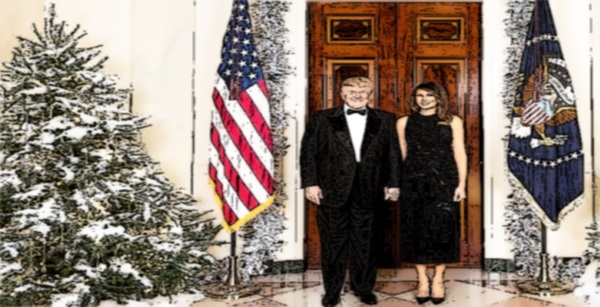 President Trump and Third Wife and Similarly Ephemeral Christmas Tree