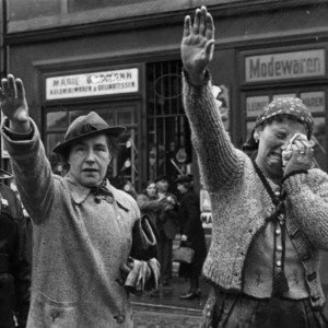 Civilians with Hitler salute when Germans marched in - Occupation of the Sudeten area